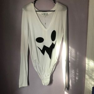 Wildfox Couture Boo Kelly Ghost Pumpkin Bodysuit